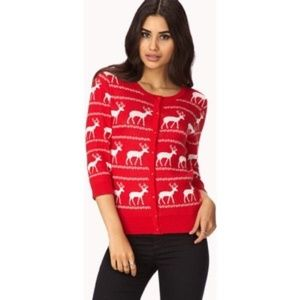 Forever 21 Red Holiday Deer Cardigan Sweater